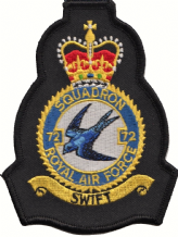 No. 72 (R) Squadron Royal Air Force RAF Crest MOD Embroidered Patch